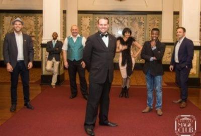 "Marcel Oudejans & the cast of Cape Town Magic Club's ""Monday Night Magic"" production"