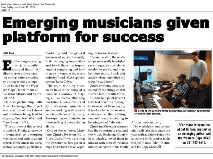"""Emerging musicians given platform for success"" - Vuk'uzenzele"